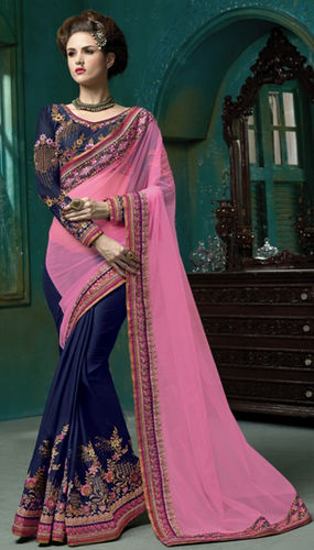 Pink And Navy Blue Net And Faux Satin Embroidered Saree