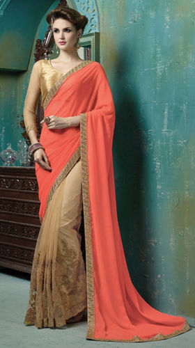 Orange Georgette And Net Embroidered Saree
