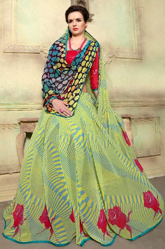 Yelllow Faux Georgette Printed Saree
