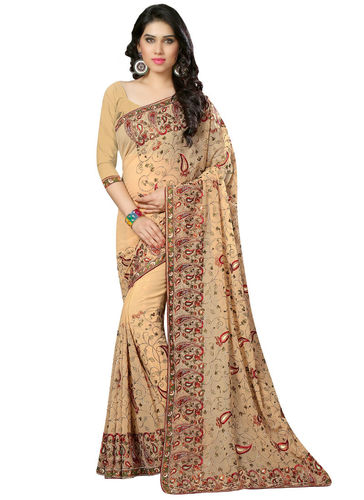 Beige Embroidered Georgette Saree