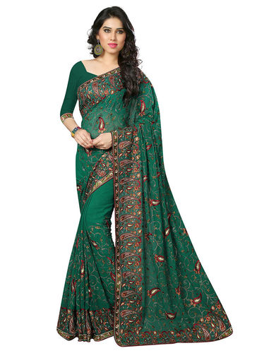 Teel Green Embroidered Georgette Saree