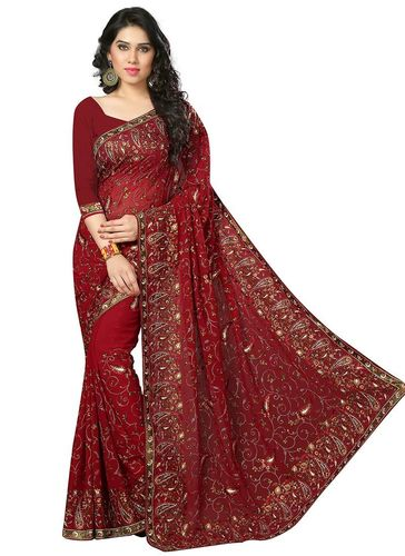 Maroon Embroidered Georgette Saree
