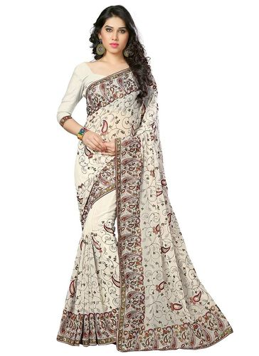 Off White Embroidered Georgette Saree