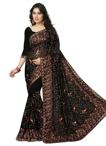 Black Embroidered Georgette Saree