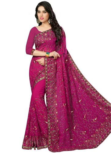 Fuchsia Embroidered Georgette Saree