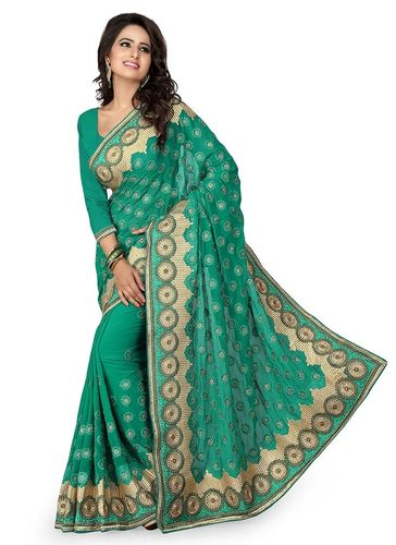 Teal Green Embroidered Georgette Saree