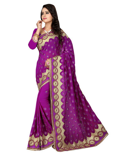 Violet Embroidered Georgette Saree