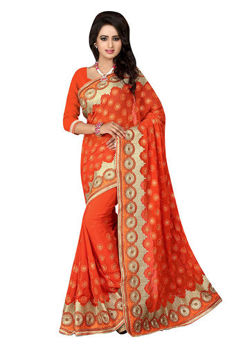 Orange Embroidered Faux Georgette Saree