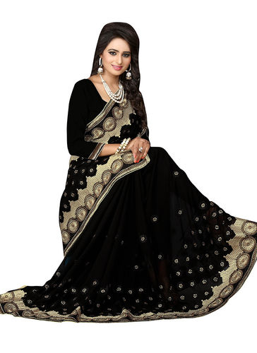 Black Embroidered Faux Georgette Saree