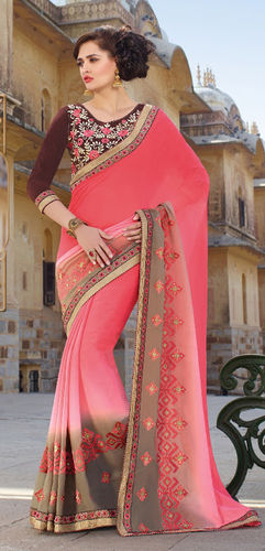 Pink Embroidered Viscose Georgette Saree