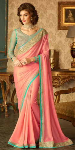 Shimmer Peach Embroidered Viscose Georgette Saree