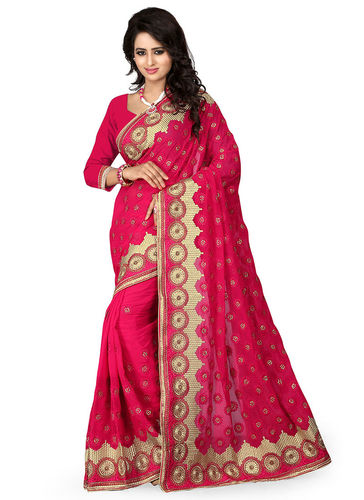 Fuchsia Embroidered Faux Georgette Saree