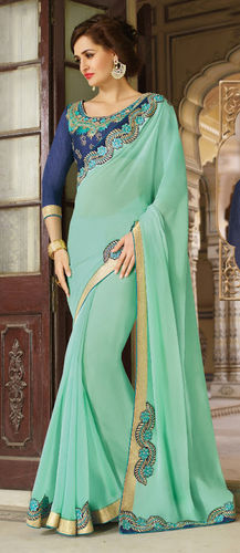 Pastel Green Embroidered Viscose Georgette Saree