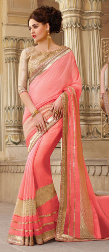 Peach Embroidered Viscose Georgette Saree