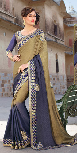 Navy Blue Embroidered Viscose Georgette Saree