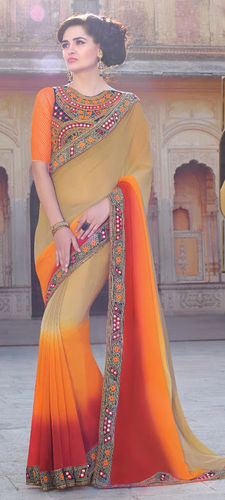 Multicolour Embroidered Viscose Georgette Saree