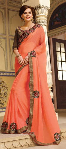 Orange Embroidered Viscose Georgette Saree