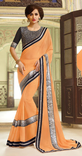 Pastel Orange Embroidered Viscose Georgette Saree