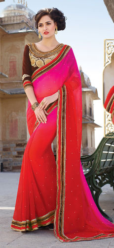 Red And Fuchsia Embroidered Viscose Georgette Saree