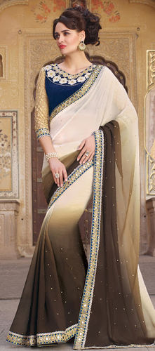 Off White And Brown Embroidered Viscose Georgette Saree