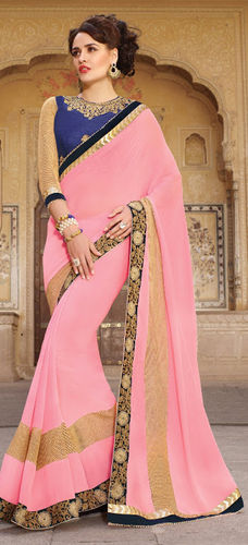 Baby Pink Embroidered Viscose Georgette Saree