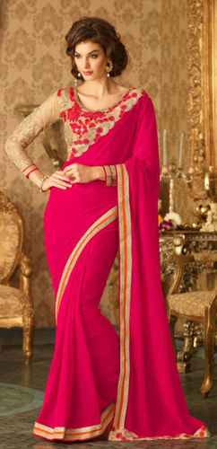 Fuchsia Embroidered Viscose Georgette Saree