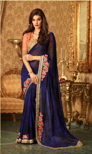 Blue And Black Embroidered Viscose Georgette Saree