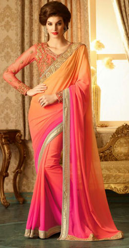 Pink And Orange Embroidered Viscose Georgette Saree