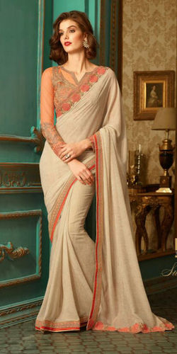 Dusty Beige Embroidered Viscose Georgette Saree