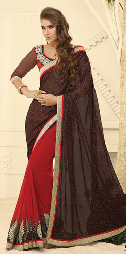 Maroon & Brown Jacquard and Georgette Saree