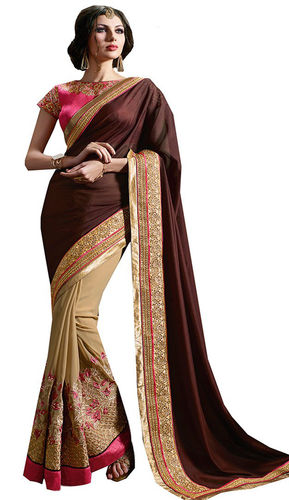 Brown And Beige Faux Georgette Saree