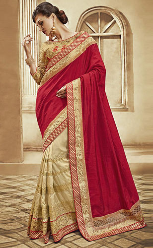 Red and Beige Art Silk Dupion Saree