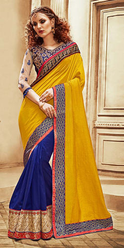 Mustard Yellow and Blue Art Silk Dupion Saree