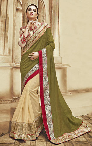 Olive Green and Beige Art Silk Dupion Saree