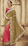 Coral pink Art Silk Dupion Saree