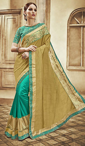 Teal Green and Beige Art Silk Dupion Saree
