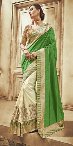 Green and Beige Art Silk Dupion Saree