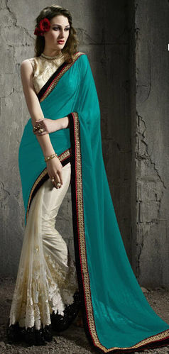 Blue Off White Net And Faux Georgette Saree
