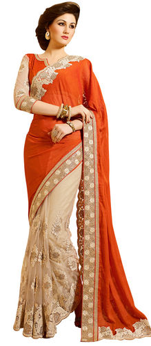 Rust Designer Faux Georgette And Net Saree