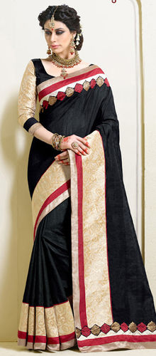 Black and Beige Art Silk Dupion Saree