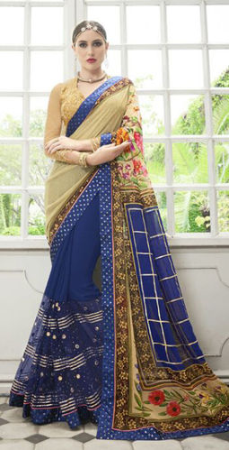 Blue And Beige Faux Georgette  Saree