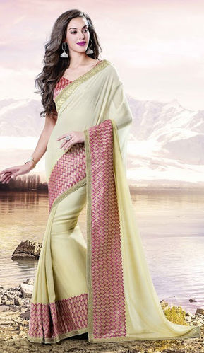 Ligh Yellow Georgette Saree