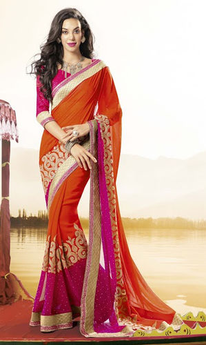 Rusr And Pink Georgette Saree