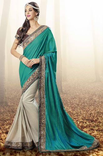 Teal Blue And Beige Art Silk And Net Saree