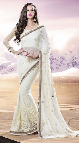 Off White Net And Georgette Saree