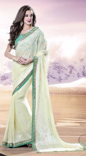 Cream Faux Chiffon Saree