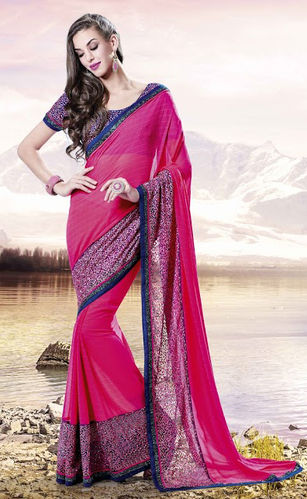 Fuchsia Faux Georgette Saree