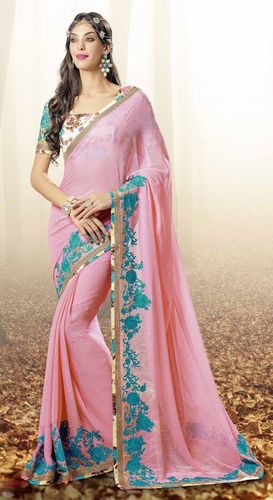 Ligh Pink Faux Georgette Saree