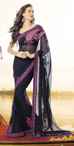 Black Faux Georgette Saree