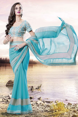 Light Blue Faux Chiffon Saree